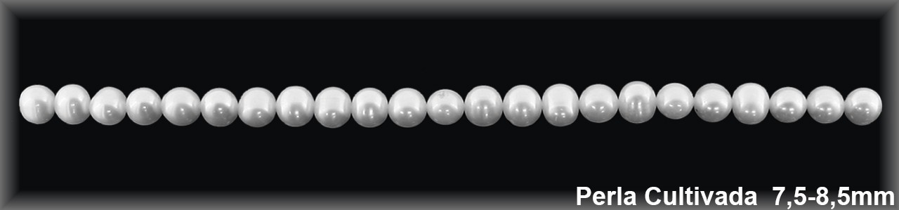 Perla  cultivada     redonda 7.5-8.5 MM- 1 Hilo 50 pzas.-