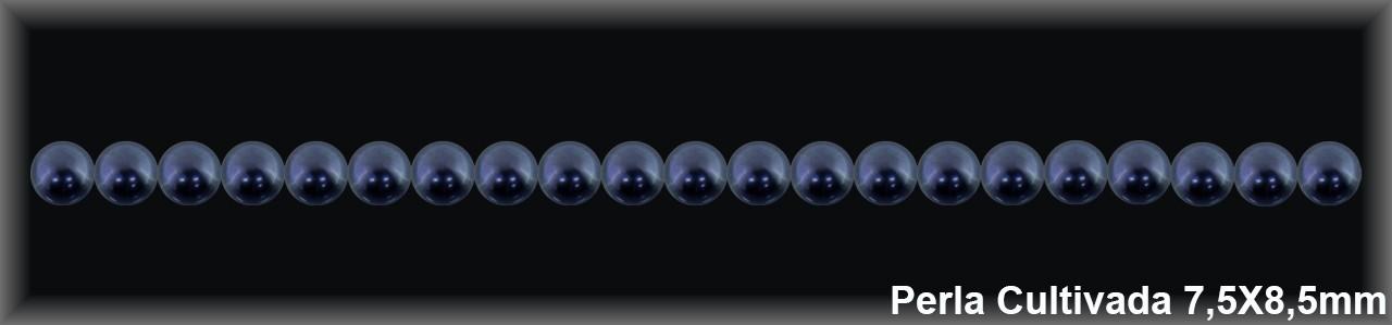 Perla  cultivada     gris redonda 7.5-8.5 MM.(cal.ex.) -1 hilo 50 pzas.-