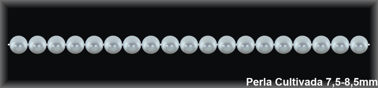 Perla  cultivada     redonda 7.5-8.5 MM.(cal.ex1ª.) -1 hilo 50 pzas.-