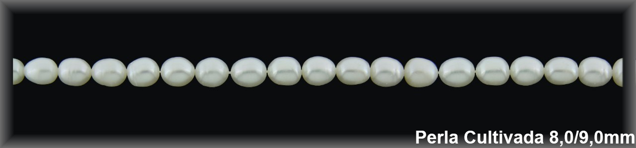 Perla  cultivada     7-8 x 9-10 mm -1 hilo 38 pzas.-