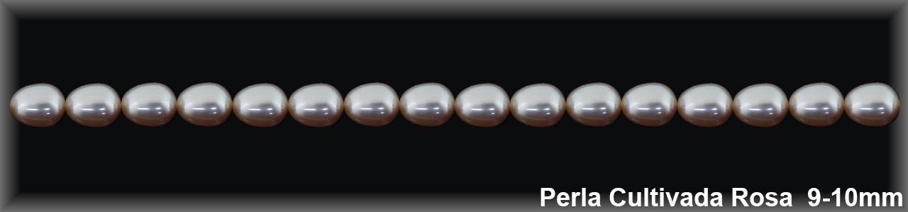 Perla  cultivada     7-8 x 9-10 mm rosa(cal.ex.) -1 hilo 42 pzas.-