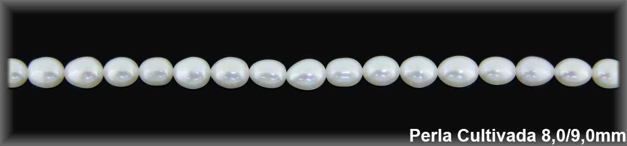 Perla  cultivada     7-8 x 9-10 mm(cal. sup.ex.) -1 hilo 45 pzas.-