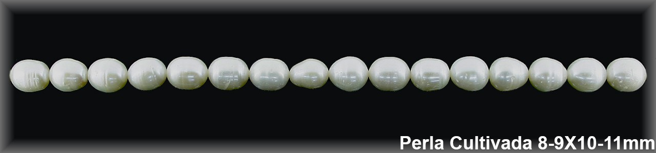 Perla  cultivada     8-9 x 10-11 mm -1 hilo 38 pzas.-