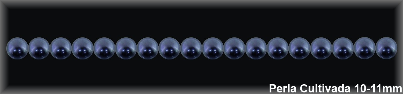 Perla  cultivada     gris redonda 10-11 MM- 1 Hilo 40 pzas.-