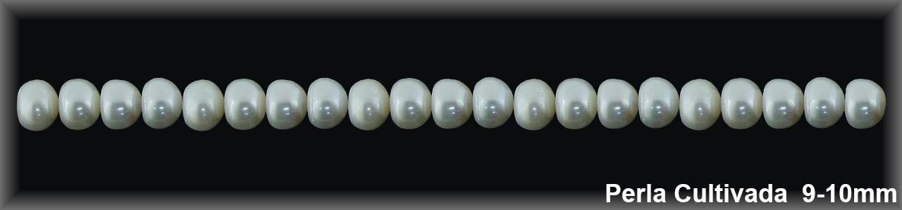 Perla  cultivada     redonda 9-10 MM- 1 Hilo 43 pzas.-