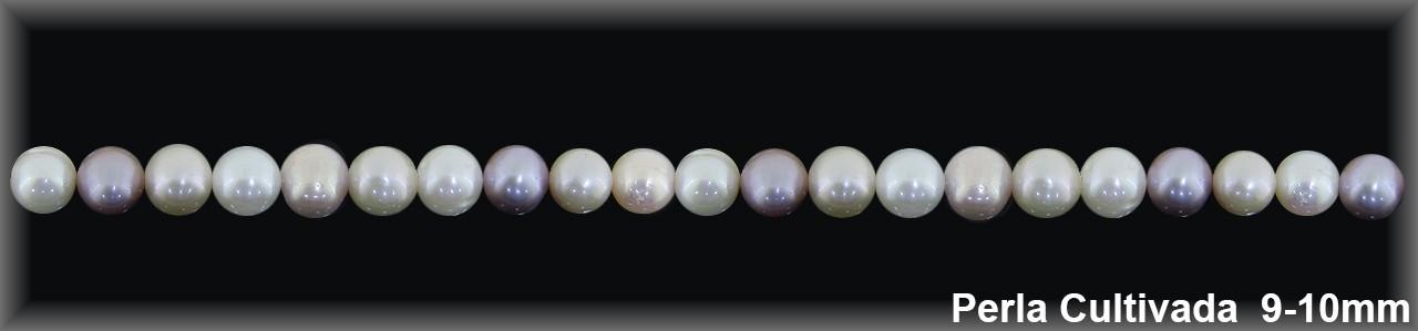 Perla  cultivada     redonda 9-10 MM color- 1 Hilo 43 pzas.-