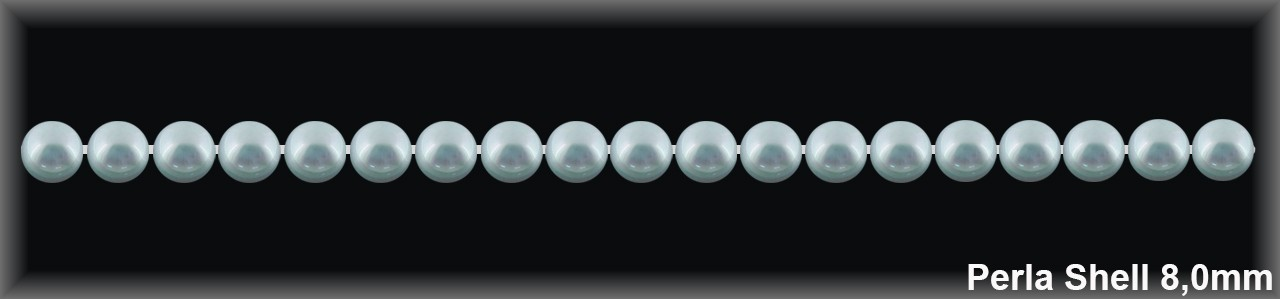 Perla shell 8 mm.-Blanca- 1 hilo 51 pzas.-(R.B.)