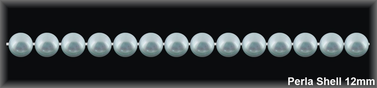 Perla shell 12 mm.-Blanca- 1 hilo 34 pzas-