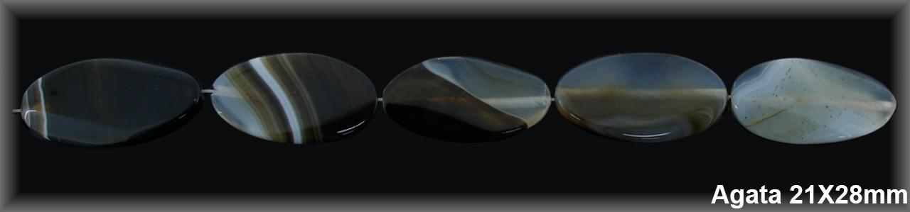 Oval ágata marrón 21x38 mm-1 hilo 10 pzas-