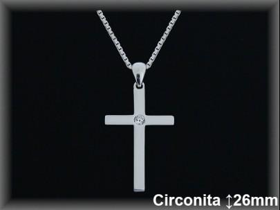 Cruces plata circonita 15x26mm. cad. 7300a.