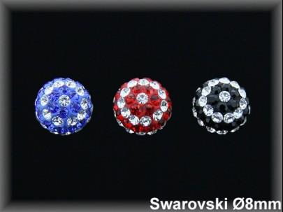 Pendientes plata bola 8mm swarovski rayada as-3 colores-pp10-