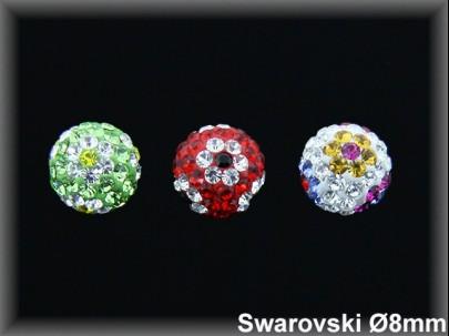Pendientes plata bola swarovski 8 mm flores-3 colores-pp10-
