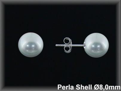 Pendientes plata  rodio  perla shell blanca 8 mm pres