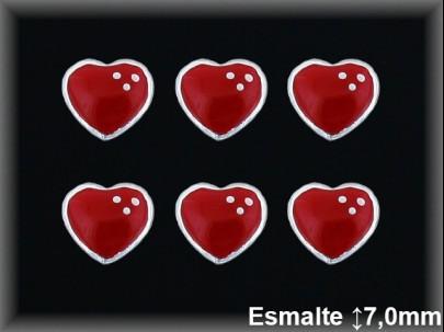 Pendientes plata  corazon esmalte presion