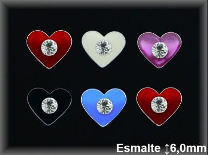 Pendientes plata  corazon esmalte circonitapresion