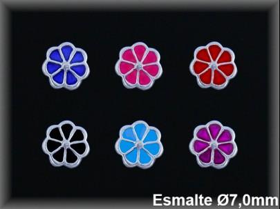 Pendientes plata  flor esmalte presion