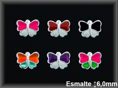Pendientes plata  mariposa esmalte presion