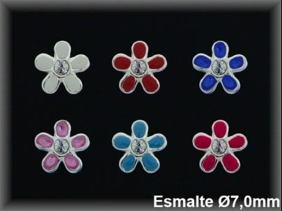 Pendientes plata  florecita esm.color centro piedra