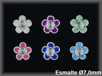Pendientes plata  presion flor esmalte centro piedra