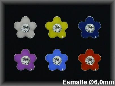 Pendientes plata  florecita esm.color c. piedra presion