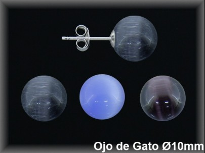 <p>Pendientes plata  bola 10 mm-ojo gato negro azul amatista presion< p>