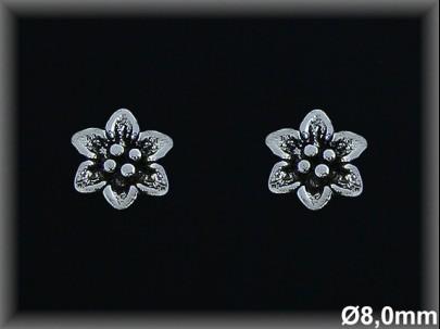 Pendientes oxido flor presion 8 mm plata de Ley 925Mls