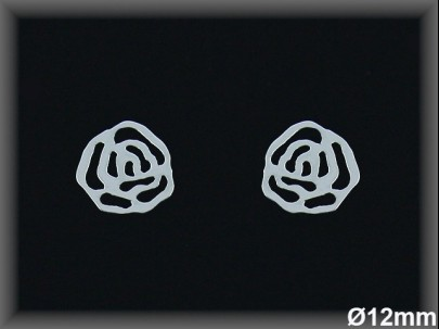 Pendientes plata  flor 12 mmpresion