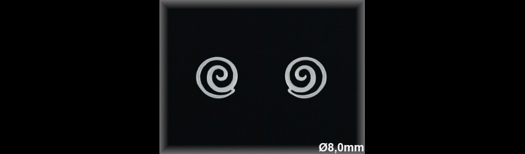Pendientes plata  espiral 8 mmpresion