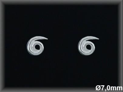 Pendientes plata  espiral presion 5x6.5 mm