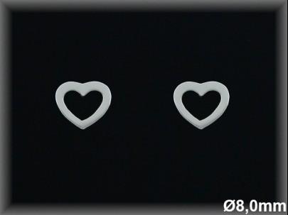 Pendientes plata silueta corazón 8 mm presión