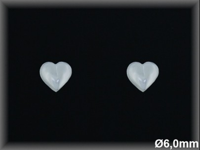 Pendientes plata  lisa corazonr 6mm presion