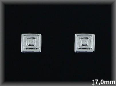 Pendientes plata  7x7 mm cuadrada. concentr.presion