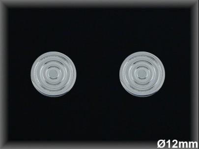 Pendientes plata 12 mm circulos concentr. presión