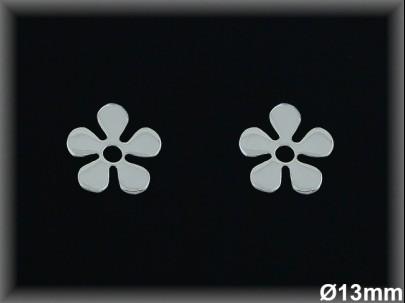 Pendientes plata flor 13 mm. presión