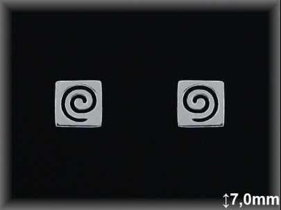 Pendientesplata  lisa.cuadradaado  espiral cal   presion 7 mm