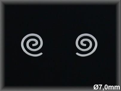 Pendientes plata  espiral 6.5 mmpresion