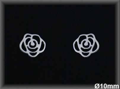Pendientes plata  presion flor cal  10 mm
