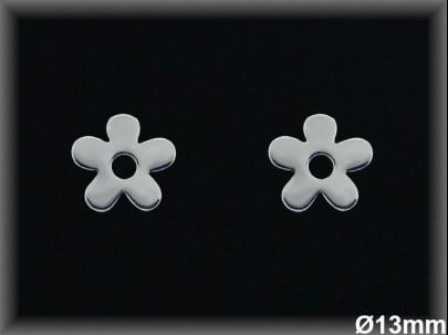 Pendientes plata   flor 13 mm presion