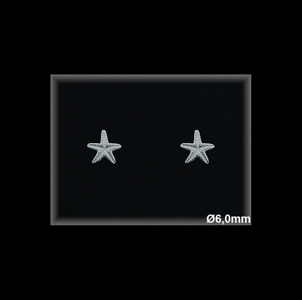 Pendientes Plata 925 lisa estrella 6 mm ref ML058 Movegranada