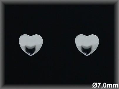 Pendientes plata  lisa corazonr 7 mm presion