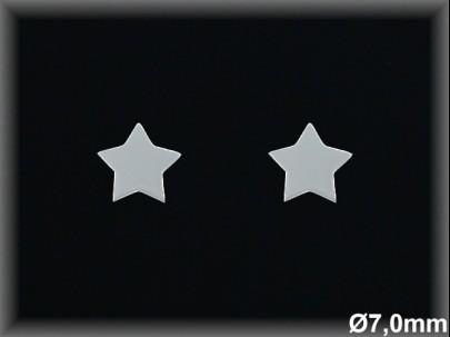 Pendientes plata  lisa estrella 7mm  -presion-.