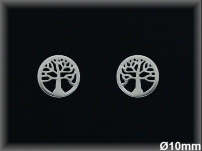 """Pendientes plata rodio redondo  10 mm """"árbol de la vida""""-presión -"""