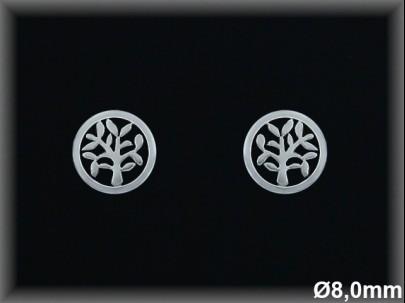 Pendientes plata  rodio redondo  8 mm  arbol de la vidapresion