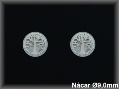 Pendientes plata rodio nácar -árbol de la vida-9 mm.presión