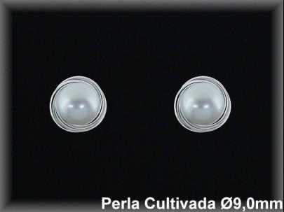 Pendientes plata rodio perla  cultivada     blanca 9 mm /-presión -