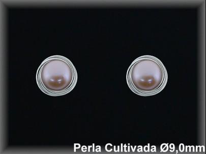 Pendientes plata rodio perla  cultivada     color