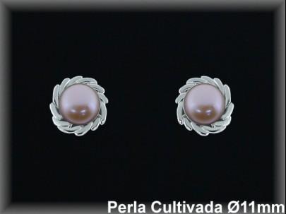 Pendientes plata rodio perla  cultivada     color 10-11 mm/-presión -