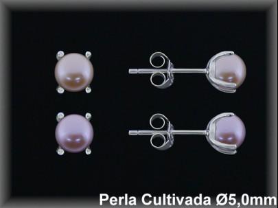 Pendientes plata rodio perla  cultivada      col.5 mm 4 garras -presión -