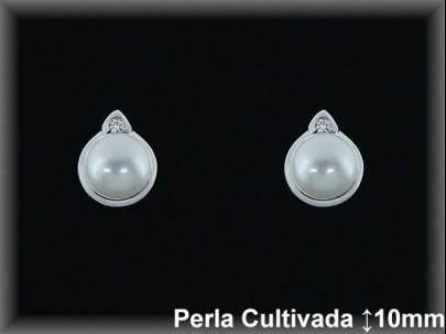 Pendientes plata rodio perla  cultivada      blanca mont.9x10 mm. -presión -