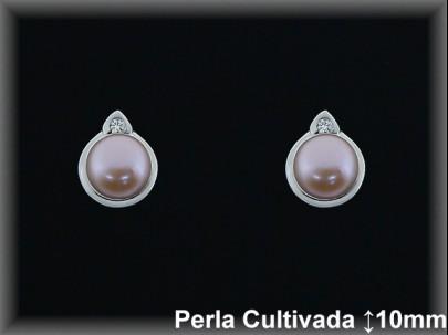 Pendientes plata rodio perla  cultivada      color mont.9x10 mm. -presión -